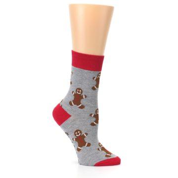 Image of Gray Brown Gingerbread Man Women's Dress Sock (side-1-26)