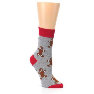 Image of Gray Brown Gingerbread Man Women's Dress Sock (side-1-27)
