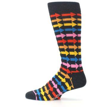 Image of Charcoal Multi-Color Arrows Men's Dress Socks (side-2-12)