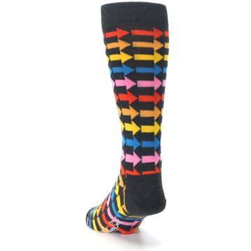 Image of Charcoal Multi-Color Arrows Men's Dress Socks (side-2-back-16)