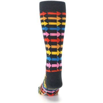 Image of Charcoal Multi-Color Arrows Men's Dress Socks (back-17)