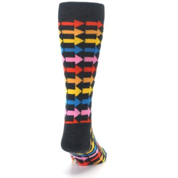 Image of Charcoal Multi-Color Arrows Men's Dress Socks (back-19)