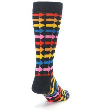 Image of Charcoal Multi-Color Arrows Men's Dress Socks (side-1-back-20)