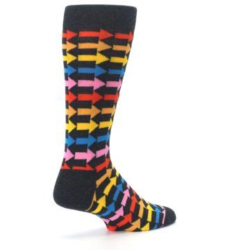 Image of Charcoal Multi-Color Arrows Men's Dress Socks (side-1-back-22)