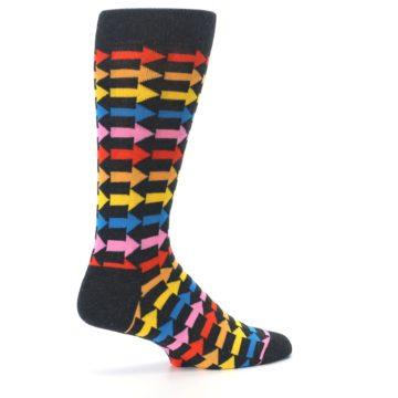Image of Charcoal Multi-Color Arrows Men's Dress Socks (side-1-23)