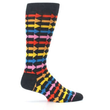 Image of Charcoal Multi-Color Arrows Men's Dress Socks (side-1-24)
