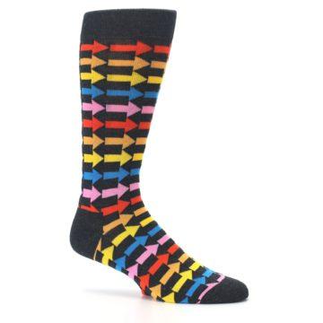 Image of Charcoal Multi-Color Arrows Men's Dress Socks (side-1-25)