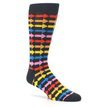Image of Charcoal Multi-Color Arrows Men's Dress Socks (side-1-26)