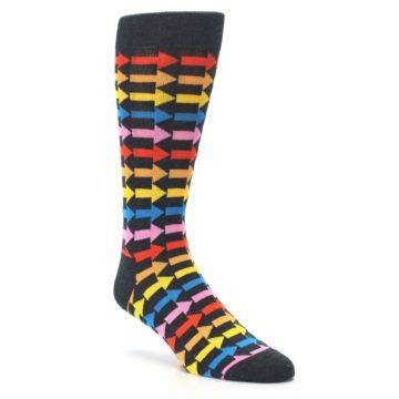 Image of Charcoal Multi-Color Arrows Men's Dress Socks (side-1-27)