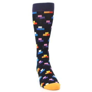 Image of Black Multi-Color Dashes Men's Dress Socks (side-1-front-03)