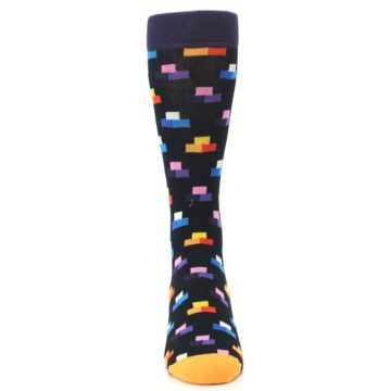 Image of Black Multi-Color Dashes Men's Dress Socks (front-04)