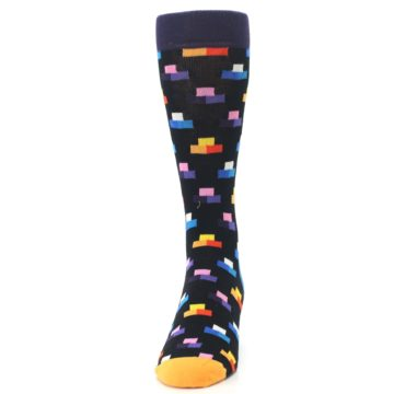 Image of Black Multi-Color Dashes Men's Dress Socks (front-05)