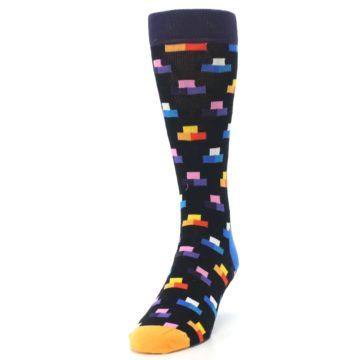 Image of Black Multi-Color Dashes Men's Dress Socks (side-2-front-06)