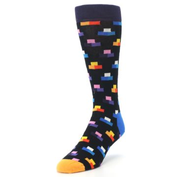 Image of Black Multi-Color Dashes Men's Dress Socks (side-2-front-07)