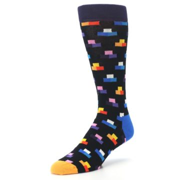 Image of Black Multi-Color Dashes Men's Dress Socks (side-2-front-08)