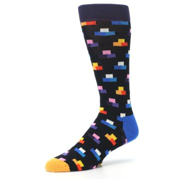 Image of Black Multi-Color Dashes Men's Dress Socks (side-2-09)