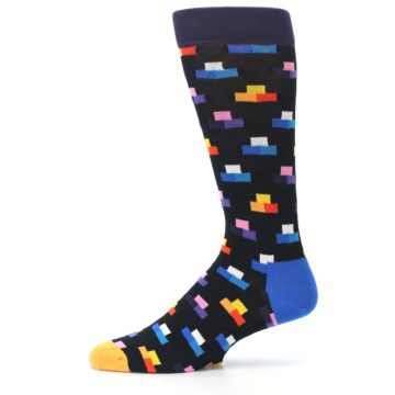 Image of Black Multi-Color Dashes Men's Dress Socks (side-2-11)
