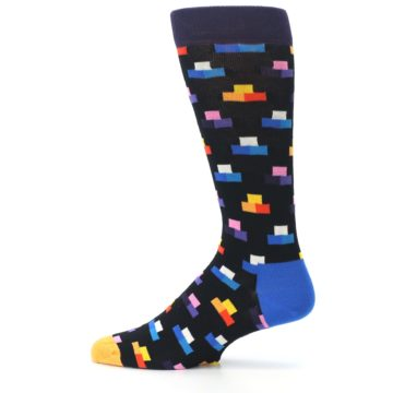 Image of Black Multi-Color Dashes Men's Dress Socks (side-2-12)