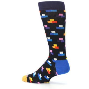 Image of Black Multi-Color Dashes Men's Dress Socks (side-2-13)