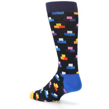 Image of Black Multi-Color Dashes Men's Dress Socks (side-2-back-14)