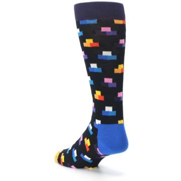 Image of Black Multi-Color Dashes Men's Dress Socks (side-2-back-15)