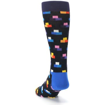 Image of Black Multi-Color Dashes Men's Dress Socks (side-2-back-16)