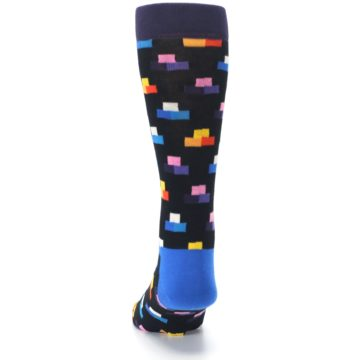 Image of Black Multi-Color Dashes Men's Dress Socks (back-17)