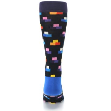 Image of Black Multi-Color Dashes Men's Dress Socks (back-18)