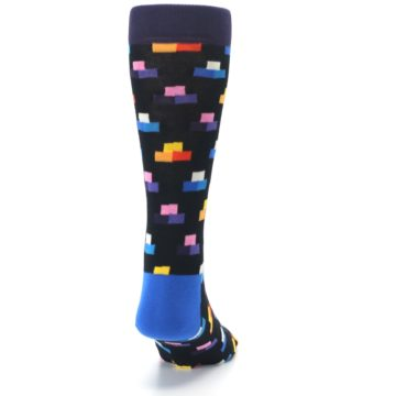 Image of Black Multi-Color Dashes Men's Dress Socks (back-19)