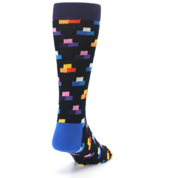 Image of Black Multi-Color Dashes Men's Dress Socks (side-1-back-20)