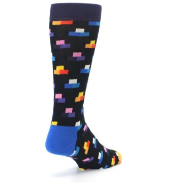Image of Black Multi-Color Dashes Men's Dress Socks (side-1-back-21)