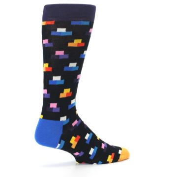 Image of Black Multi-Color Dashes Men's Dress Socks (side-1-23)