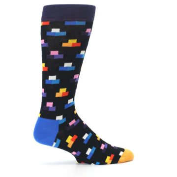 Image of Black Multi-Color Dashes Men's Dress Socks (side-1-24)