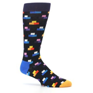 Image of Black Multi-Color Dashes Men's Dress Socks (side-1-25)