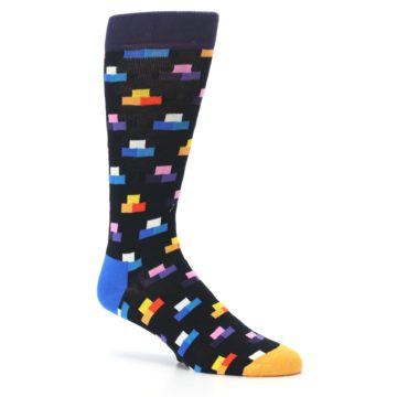 Image of Black Multi-Color Dashes Men's Dress Socks (side-1-26)