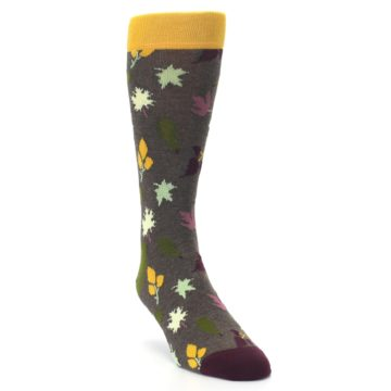 Image of Brown Green Fall Leaf Men's Dress Socks (side-1-front-02)
