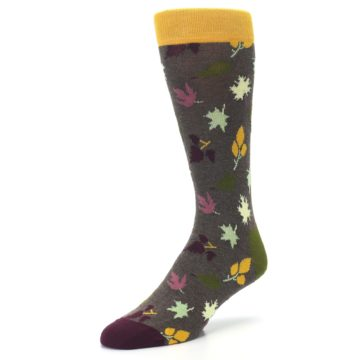 Image of Brown Green Fall Leaf Men's Dress Socks (side-2-front-08)