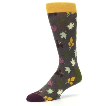 Image of Brown Green Fall Leaf Men's Dress Socks (side-2-09)
