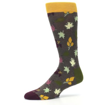 Image of Brown Green Fall Leaf Men's Dress Socks (side-2-10)