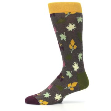 Image of Brown Green Fall Leaf Men's Dress Socks (side-2-11)