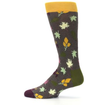 Image of Brown Green Fall Leaf Men's Dress Socks (side-2-12)