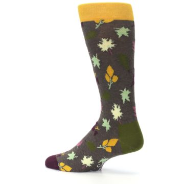 Image of Brown Green Fall Leaf Men's Dress Socks (side-2-13)