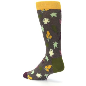 Image of Brown Green Fall Leaf Men's Dress Socks (side-2-back-14)