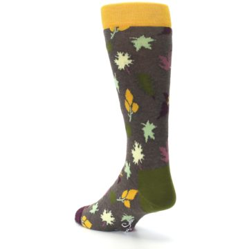 Image of Brown Green Fall Leaf Men's Dress Socks (side-2-back-15)