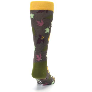 Image of Brown Green Fall Leaf Men's Dress Socks (back-19)