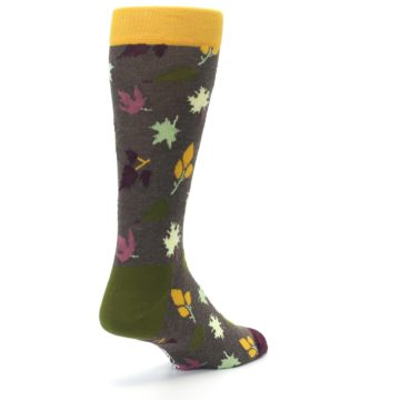 Image of Brown Green Fall Leaf Men's Dress Socks (side-1-back-21)