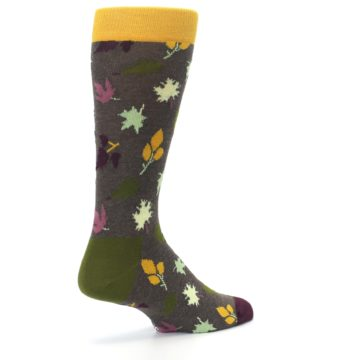 Image of Brown Green Fall Leaf Men's Dress Socks (side-1-back-22)