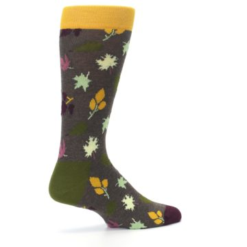 Image of Brown Green Fall Leaf Men's Dress Socks (side-1-23)