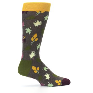 Image of Brown Green Fall Leaf Men's Dress Socks (side-1-24)