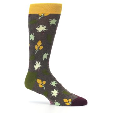 Image of Brown Green Fall Leaf Men's Dress Socks (side-1-25)